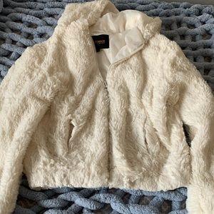 White Cropped Fuzzy Jacket!